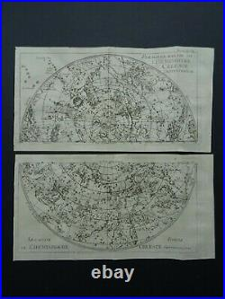 1739 L'Abbe PLUCHE Atlas Celestial World Map Star Chart Hemispheres on 4 pages