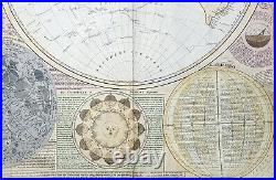 1787 Samuel Dunn Large Antique Double Hemisphere World Map with Scientific anno
