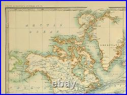 1899 Large Antique Map World Ocean Currents Steamer Routes India Asia America