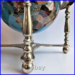 18 Gemstone Rotating Globe Compass, Vintage with Gold Brass Stand