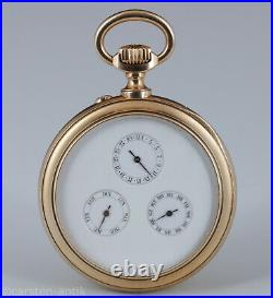 18k gold pocket watch w. Double dial, World Map from 1840 with Texas as republic