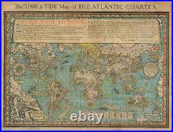 1943 Gill Pictorial Map of the World Promoting the WWII Atlantic Charter