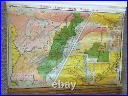 1950's Denoyer Geppert Pull Down 13 Layer School Canvas Social Science Map