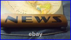 1953 Air Age Map of the World Earth Flat Map News Tin