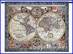 ANTIQUE WORLD MAP TAPESTRY Olde World Globe Countries Large 67x53 Wall Hanging