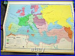 A. J. Nystrom 15 Layer Pull Down World History Map Knowlton Wallbank Antique RARE