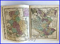 Antique 1839 1844 Smith's Atlas to accompany Geography. 18 hand colored maps