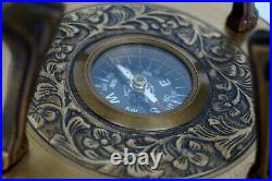 Antique 18 globe world map earth globes with designer lions wooden base compass