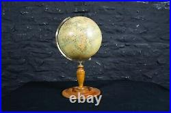 Antique 1920's Philips 9 Educational Terrestrial World Globe on Wooden Stand