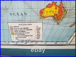 Antique 1920s Nystrom Atwood World Wall Map Population & Occupation 70x54 Huge