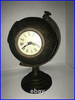 Antique Brass World Globe Clock Patina Etched Non-working 12 Tall