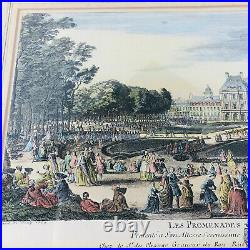 Antique Colored Engraving Panoramic Map View Old World Paris Lot of 2 Framed