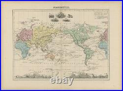 Antique Map of the World on Mercators Projection by Migeon (1880)