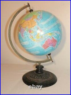 Antique ornate cast iron wood brass terrestrial world table globe stand map