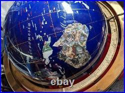 Blue Lapis Lazuli Gemstone Globe With Brass Pewter Stand and Compass 45cm