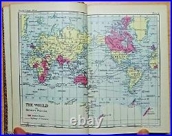 C1920 Atlas of The World RIVIERE FINEBINING Leather Antique Book COLOUR MAPS