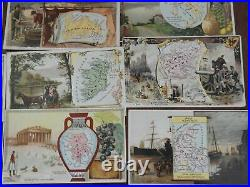 Cartographic trade cards c. 1880's lot of 50 Arbuckle coffee world geography