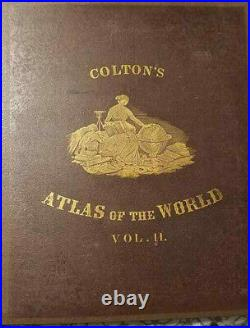 Colton's Atlas of the World Vol. I and II 1856 1st Ed. Antique Book of Maps
