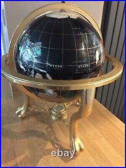 Extra Large Semi Precious Stone World Globe On Brass Stand 18 Inches Across