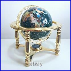 Green Gemstone Tabletop Globe with 4 Leg Gold Metal Stand & Compass