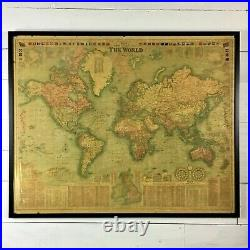 Huge Vintage Map Framed 1908 Bacon's New Chart Of The World Mercator's Projec