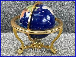 Lapis Fully rotating navy blue gemstone globe golden stand, compas, 13RRP £660