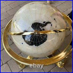 Large 19 High Semi Precious Gem Stone World Globe In Brass Stand With Compass C