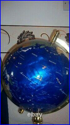 Large 22 High Semi Precious Gem Stone World Globe In Brass Stand With Compass C