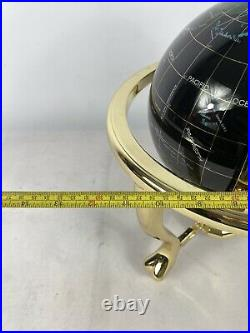 Large Semi Precious Gemstone Globe With Brass Stand And Compas Fully Rotating