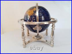 Large Semi Precious Gemstone Globe With Stand And Compass