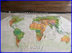 Large Vintage 1940's German Pull Down Roll Up School Map Canvas World Colour