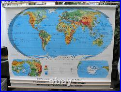 Large Vintage Rand McNally School Roll Down Map Political 3 in 1 World History