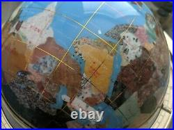 Large World Globe on Stand with compass inlaid with semi precious stones