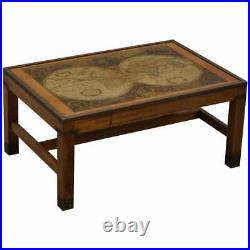 Lovely Vintage World Map Coffee Table In The Military Campaign Style Brass Etc