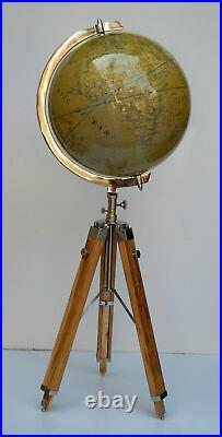 Nautical modern authentic 18 world globe map with floor wooden tripod stand