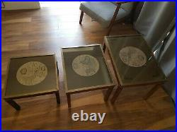 Nest of Three Vintage Campaign Tables with Global Maps Brass Edges Military
