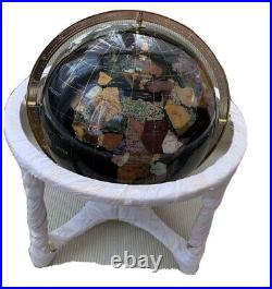 New and Boxed Stunning Large 330mm Mother Of Pearl and Gemstone World Globe
