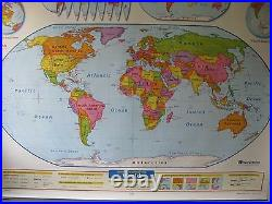 Nystrom PULL DOWN SCHOOL MAP3 layers, GEORGIA, WORLD, andU. S, measures 53 x 65