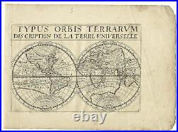 Original old rare antique world map engraving by Jollain from 1667