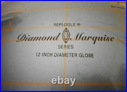 RARE MID-20TH C REPOGLE VINT DIAMOND MARQUISE 12 GLOBE, WithCURVED LUCITE HANGER