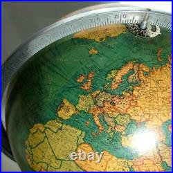 REPLOGLE 12 inch Library 1936 vintage world floor globe classical wooden base