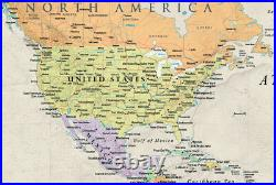 RMC 32 x 50 World Wall Map Mural Poster Classic Edition Earth Tone Wall Decor