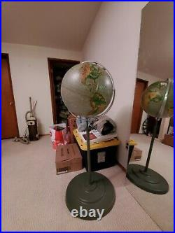 Rare Vintage 16 Nystrom Pictorial Relief Rolling Floor Globe with Stand 1965