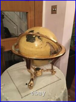 Semi Precious Gemstone World Globe on Brass Stand with Compass Mother Of Pearl