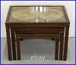 Stunning Mahogany Set Coffee/nest Of Tables Military Campaign With World Map