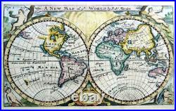 THE WORLD BY ROBERT MORDEN c1704 CALIFORNIA AS An ISLAND GENUINE ANTIQUE MAP