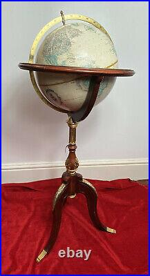 Tall Vintage Royal Geographical Society World Globe On Stand