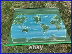 VINTAGE Mid Century 1950s LARGE Nystrom Royal USA World Pull Down Map