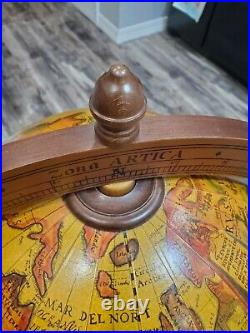 VTG Italian Old World Globe Bar Cabinet on Casters 38 Inches Tall Zodiac Signs