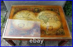 Vintage Campaign Style Solid Wood Brass & Glass Coffee Table World Map Excellent
